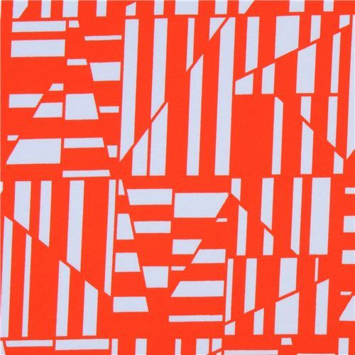 orange and grey shape knit fabric Robert Kaufman USA