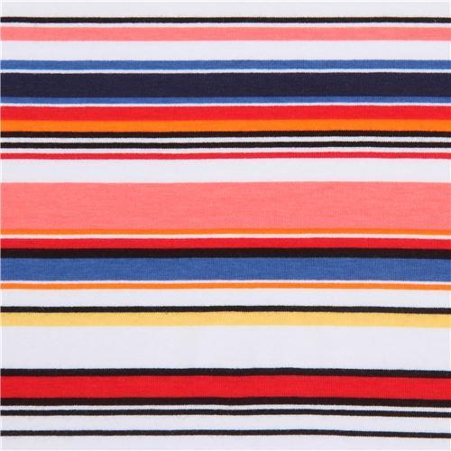 stripe red yellow pink Robert Kaufman Laguna Jersey knit fabric