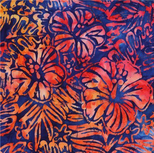 dark blue Robert Kaufman flower tie dye Batik look fabric Totally Tropical 3