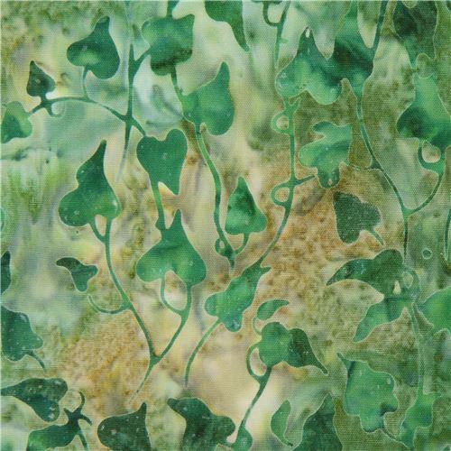 green Robert Kaufman leaf tie dye Batik look fabric Bella Vita