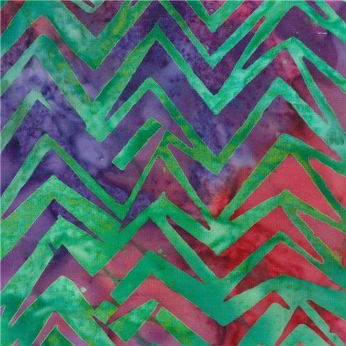 green Robert Kaufman zig zag tie dye Batik look fabric To The Point