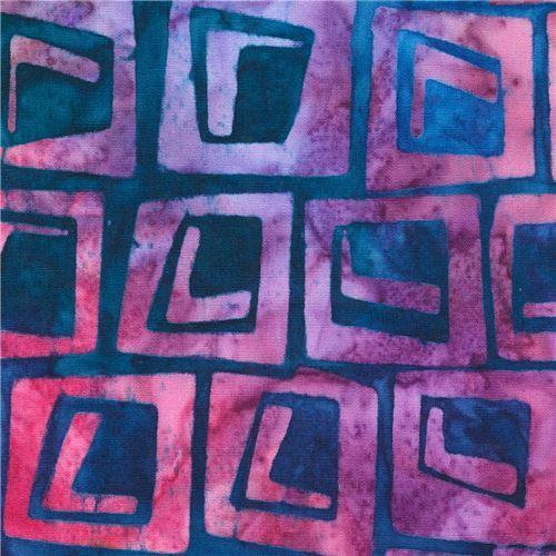 navy blue Robert Kaufman purple square tie dye Batik look fabric To The Point