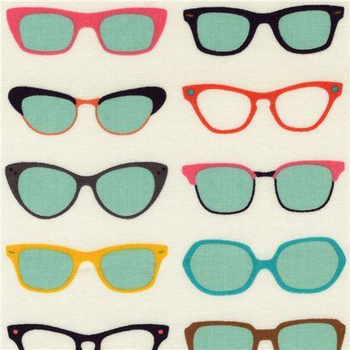 light cream with colorful glasses fabric Robert Kaufman Spec Tacular