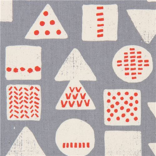 grey Canvas fabric triangle square circle shape Kokka Japan