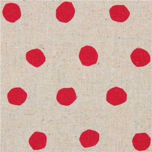 natural color echino canvas fabric with magenta dots Standard