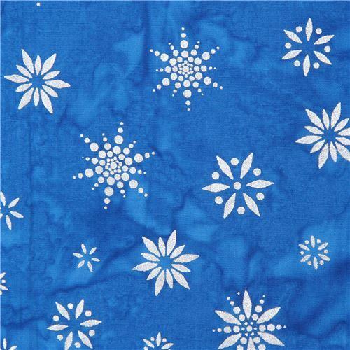 blue Batik snowflake fabric by Robert Kaufman