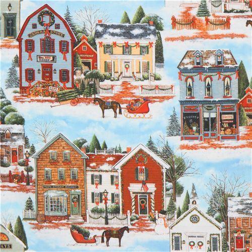 Robert Kaufman Christmas village fabric