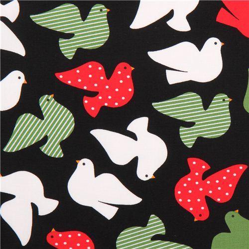 black Christmas fabric with dove of peace Black Jingle 3 Royal Robert Kaufman
