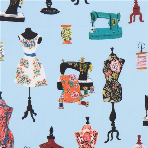blue Robert Kaufman fabric dress stand Thimbles and Threads Digital Print