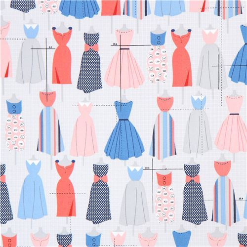 grey Robert Kaufman fabric blue dress Sew Dressed Up
