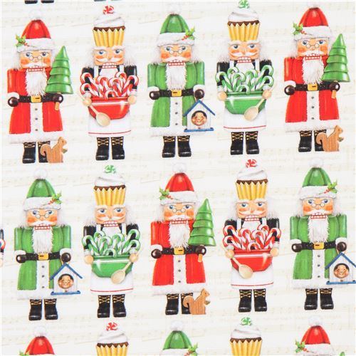 light cream Robert Kaufman santa figure fabric Jolly Christmas 6 Digital Print
