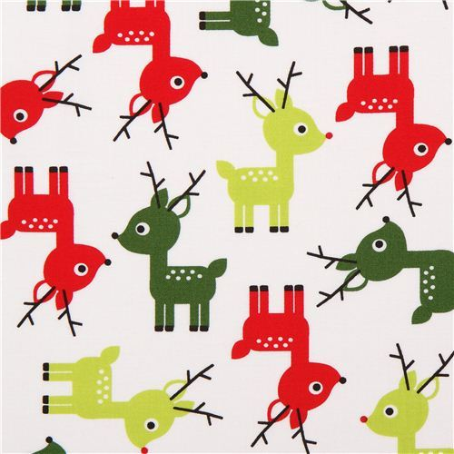 white reindeer Christmas fabric Jingle 3 White by Robert Kaufman