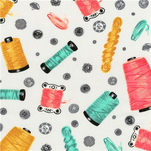Robert Kaufman white sewing thread fabric