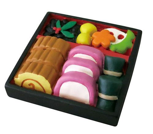 black bento box with food figurine from Japan
