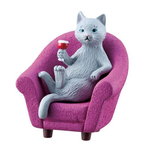 grey cat with purple chair drink figurine from Japan