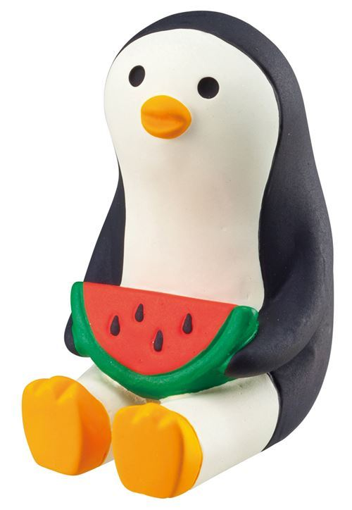 sitting black and cream penguin with watermelon slice figurine Japan