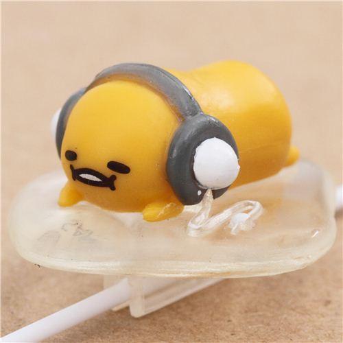Gudetama egg yolk wearing headphones earphone clip accessory