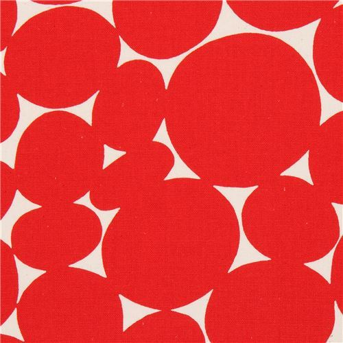 red circle canvas fabric natural color by Kokka