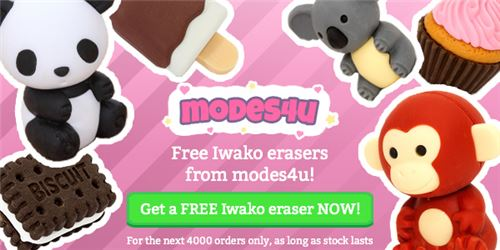 You can get a kawaii Iwako eraser for FREE with your order!