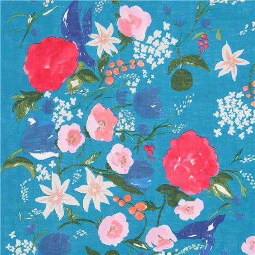 flower nani Iro linen fabric by Kokka in teal