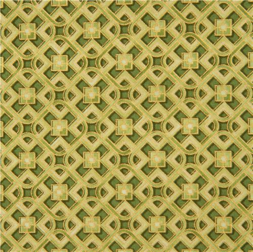 green square pattern fabric gold metallic by Robert Kaufman USA