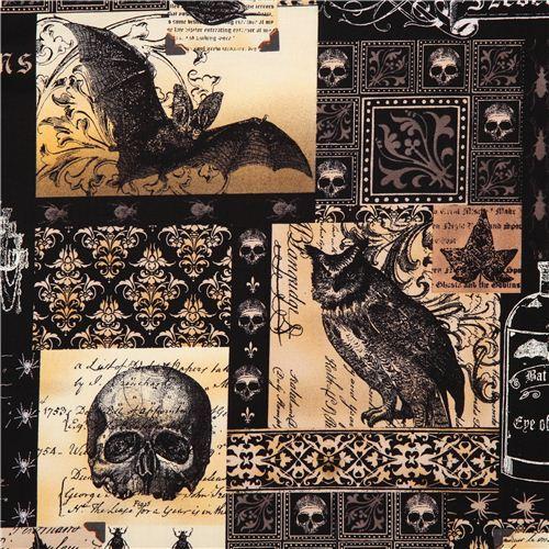 black skull fabric by Michael Miller owl bat