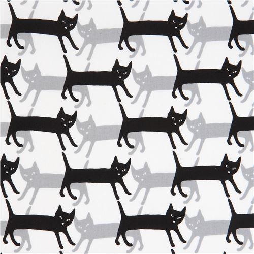 white Robert Kaufman grey black cat fabric Sevenberry Mini Prints
