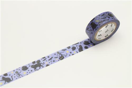 mt Washi Masking Tape purple deco tape black cat ghost star Happy Halloween