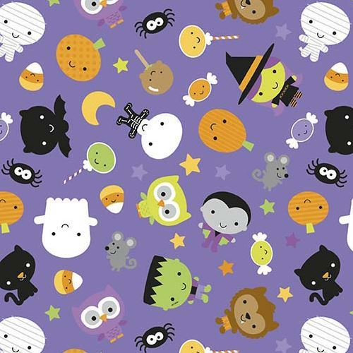 purple Riley Blake fabric vampire cat ghost glow in the dark Ghouls and Goodies