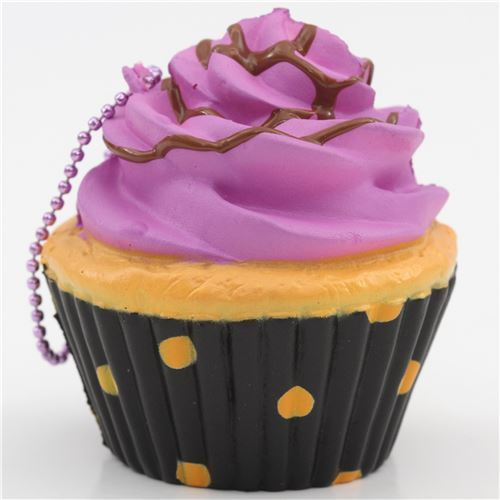 purple icing black base cupcake squishy charm cellphone charm kawaii