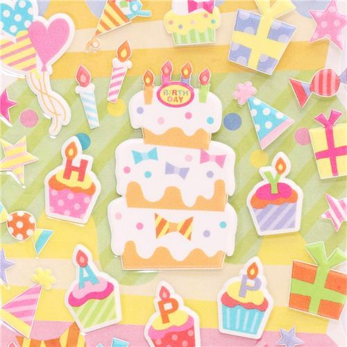 Happy Birthday 3D birthday stickers from Japan cake presents