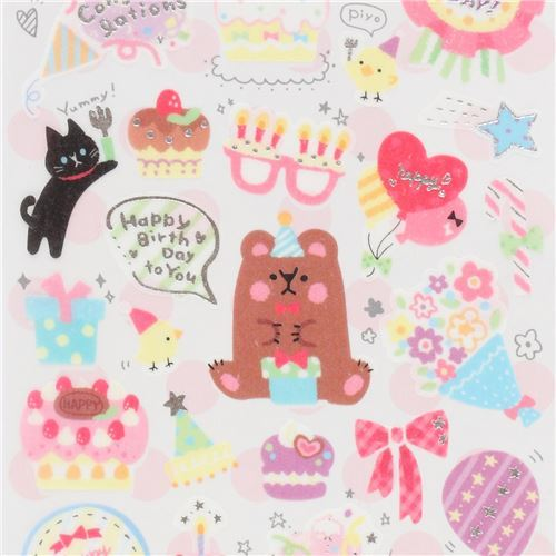 cute colorful birthday cake decoration semi transparent stickers by Q-Lia