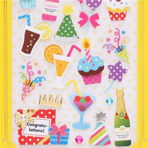 cute cupcake party pop out stickers from Japan