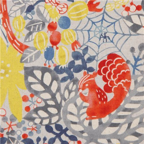 Japanese canvas fabric by Kokka with flowers