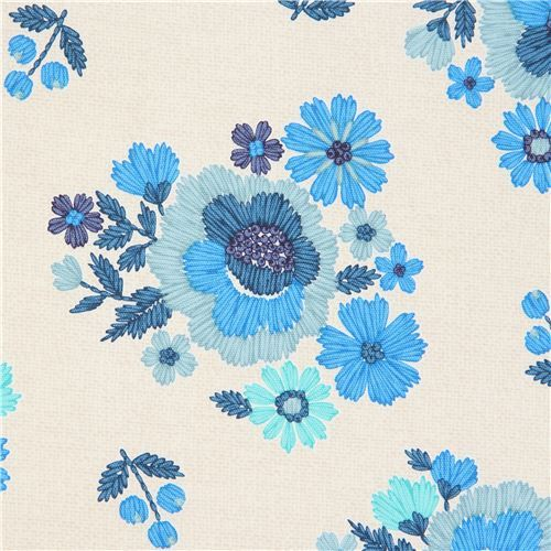 flower blue turquoise oxford natural color fabric by Kokka