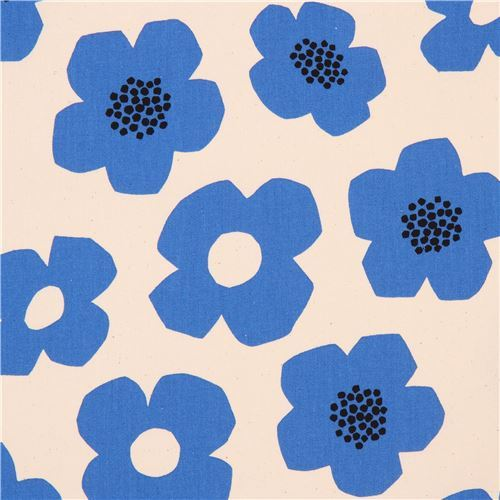 natural color Canvas fabric blue flower Kokka Japan