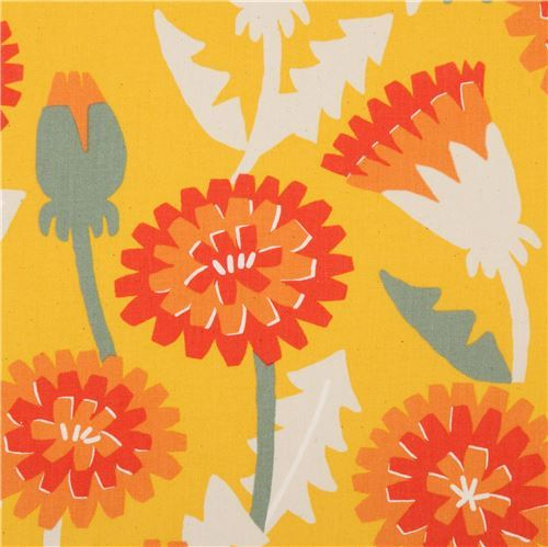 orange-yellow Canvas fabric flower leaf Kokka Japan