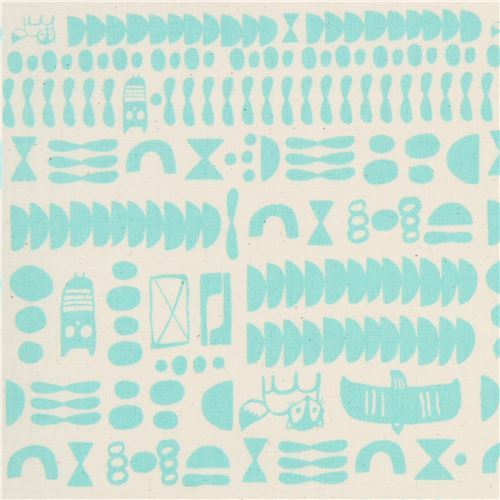 beige fabric with turquoise shape fabric by Cotton and Steel