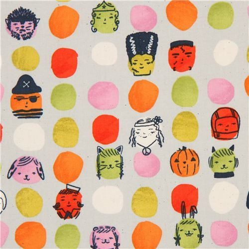 grey fabric with Halloween costume face colorful dot fabric by Cotton and Steel