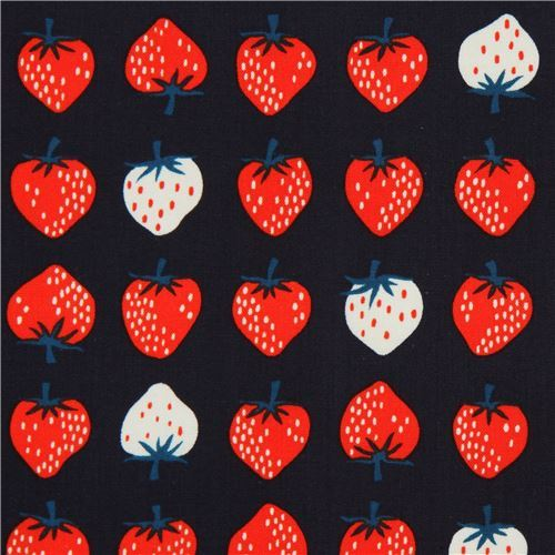 navy blue fabric with strawberry fruit fabric by Cotton and Steel