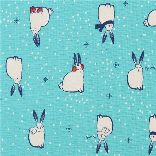 turquoise fabric with bunny rabbit animal winter fabric by Cotton and Steel