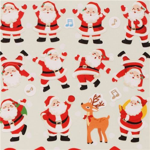 cute Christmas reindeer stickers with gold metallic from Japan