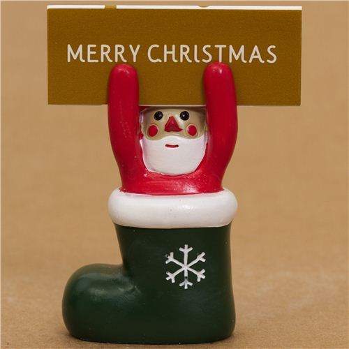 cute Santa Claus in boot Christmas card holder from Japan