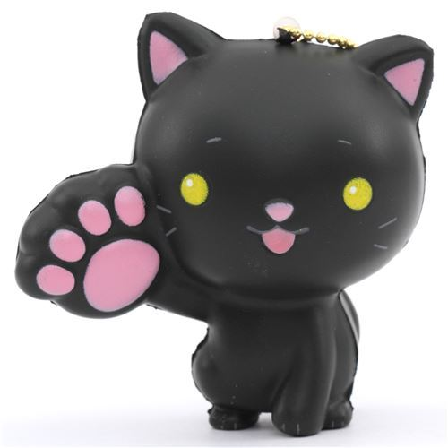 black cat animal one paw up squishy kawaii