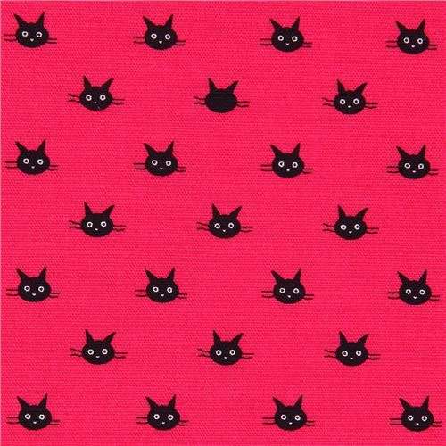 magenta with small black cat face laminate fabric from Japan