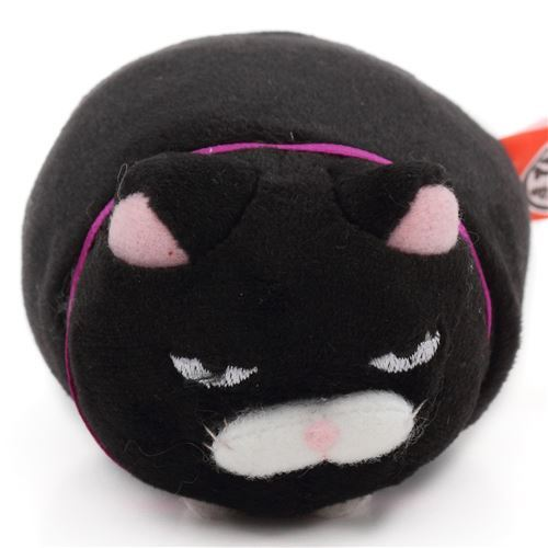 small funny black cat purple collar Hige Manjyu plush toy from Japan