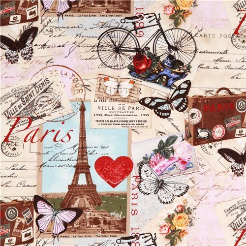 beige Vintage Paris Eiffel Tower fabric Timeless Treasures