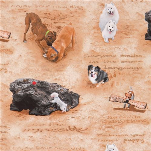 brown cute dog on beach with rock Sand Scribbles fabric by Elizabeth's Studio