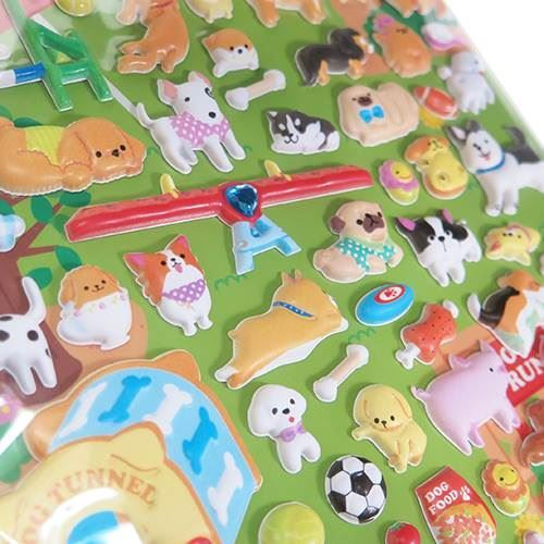 cute dog animal dog tunnel puffy 3D sponge stickers from Japan