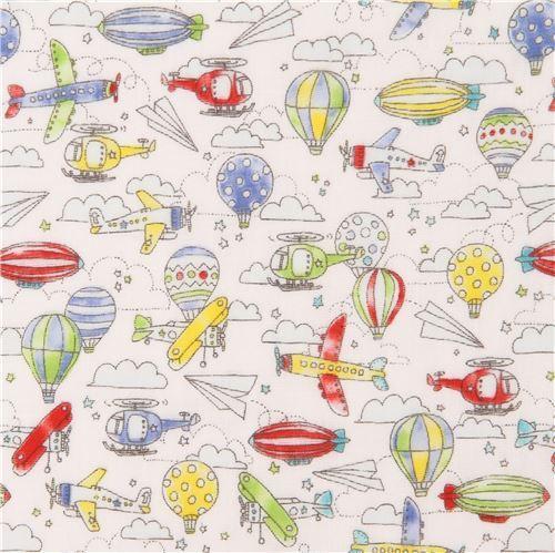 white double gauze colorful blimp hot air balloon airplane Kokka fabric